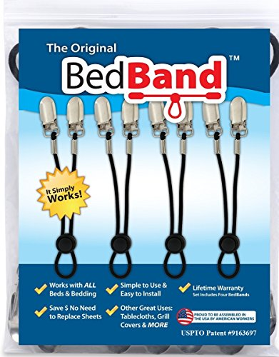 Bed Band. Not Made in China. 100% USA Worker Assembled. Lifetime Warranty. Bed Sheet Holder, Gripper, Suspender and Strap. Smooth any Sheets on any Bed. Sleep Better. Patented.