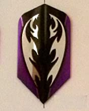One Set 3582 Amerithon PurpleBlack Tribal on Silver Dart Flights - Slim Shape