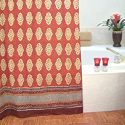 Spice Route ~ Exotic Moroccan Red Orange Fabric Shower Curtain 72x72