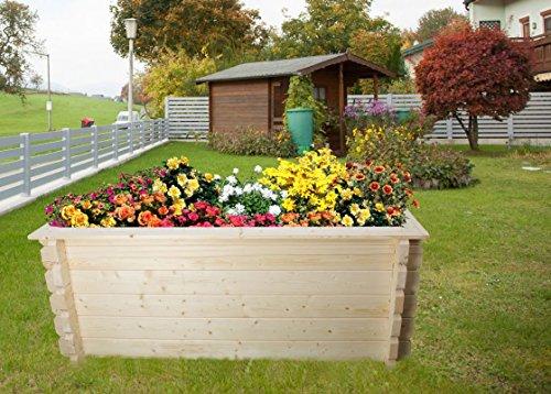 Hochbeet-Gartenfreude-aus-Blockbohlen-Sockelma-198-x-98-cm-Bohlenstrke-44-mm