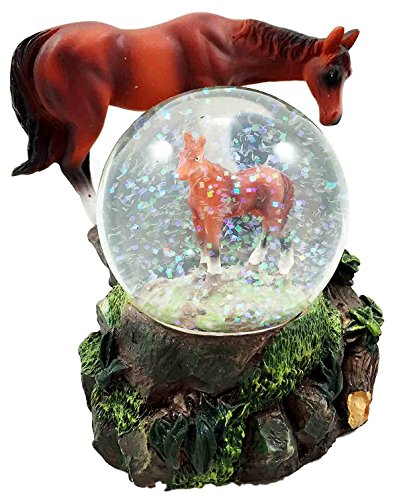 Country Farm Mother Horse With Foal Snow Water Globe Desktop Figurine Collectible