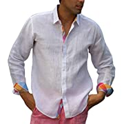 Modern lined White long sleeve linen shirt.