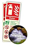 Water Fire Extinguisher Photoluminescent Sign 80x200mm Self Adhesive Pack of 50 With Coaster