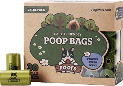 Pogi's Poop Bags - Large, Earth-Friendly, Scented, Leak-Proof Pet Waste Bags