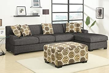 2 pc Ash Black Faux Linen fabric upholstered sectional sofa with 3 seater with reversible chaise