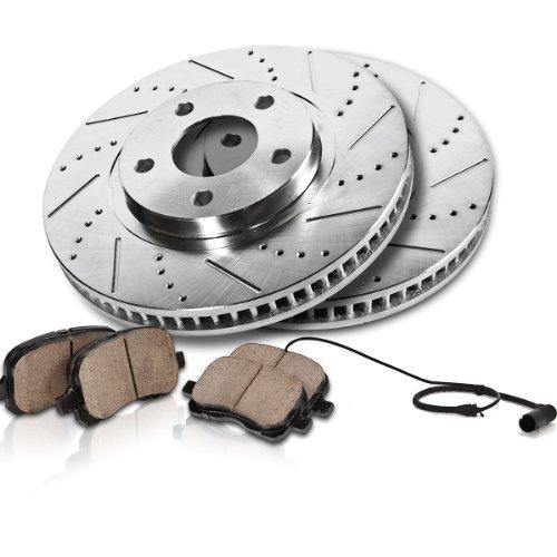 Callahan Front Performance Grade Drilled/Slotted [2] Rotors + [4] Ceramic Brake Pads w/ Sensors Kit CK005024