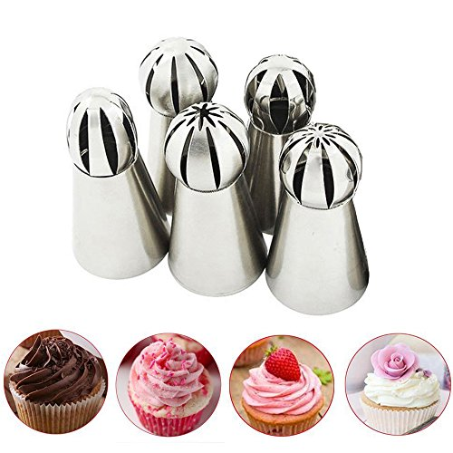 Bestgoo 5 PCS Russian Icing Piping Nozzles Tips Set, Sphere Ball Russian Tips Stainless Steel, Pastry Cake Fondant Cupcake Buttercream DIY Decor Baking Tool