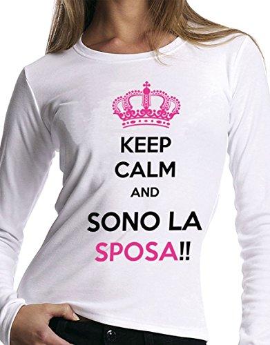 t-shirt manica lunga humor Addio al nubilato - Keep calm and... , sposa - S M L XL XXL uomo donna bambino maglietta by tshirteria