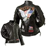 Diamond Plate Ladies' Rock Design Genuine Buffalo Leather Motorcycle Jacket- 3X by NYC Leather Factory Outlet