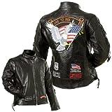 Diamond PlateTM Ladies Rock Design Genuine Buffalo Leather Motorcycle Jacket - Large