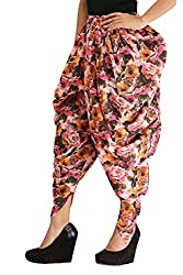 Floral Dhoti Pants for Girls & Women - Multicolour Printed Harem Pants in Cotton - Free Size Dhoti Pants for Girls - by Ankita