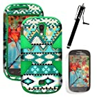 MINITURTLE, Dual Layer Tough Skin Dynamic Hybrid Hard Phone Case Cover, Clear Screen Protector Film, and Stylus Pen for Android Smartphone Samsung Galaxy Light T399 /T Mobile (Mint Green Aztec / Green)