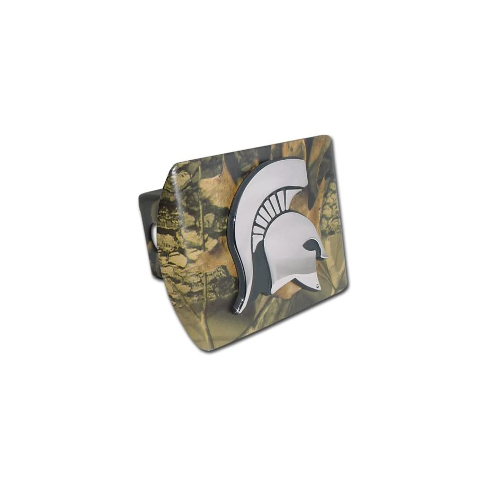 Michigan State University Spartans Camo with Chrome Spartan Head Emblem NCAA College Sports Metal Trailer Hitch Cover Fits 2 Inch Auto Car Truck Receiver