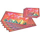 ITrend India PVC 6 Piece Placemats, 6 Piece Coasters And 3 Piece Bowl Mats (Floral, 45 Cm X 27.5 Cm X 1 Cm, Multicolor)