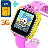 3G GPS Tracker Kids Smart Watch TURNMEON® Wristwatch SIM SOS WIFI Android Wear Camera Touch Wristwatch Parent Control app for Android ios iPhone (Pink)
