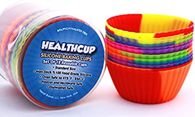 Cupcake Liners-Silicone Baking Cups-Set of 12 Standard Size Nonstick Cupcake Molds-Muffin Liners-NO BPA