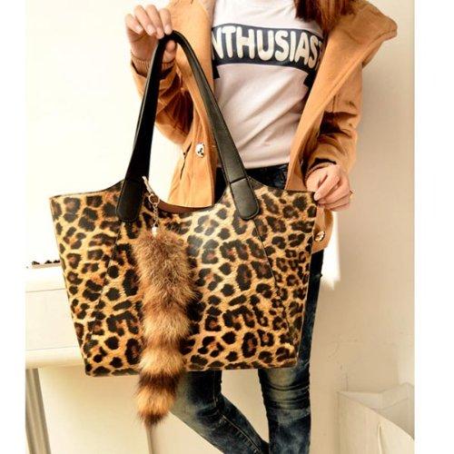 Leopard Print Pendant Women Lash Bag Handbag