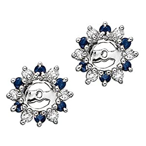 Click to buy 14K White Gold ¼ Carat Diamond and Sapphire Earring Jackets from Amazon!