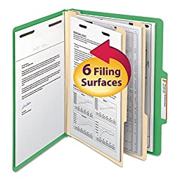 Top Tab Classification Folders, Two Dividers, Six-Section, Green, 10/Box - SMD14002