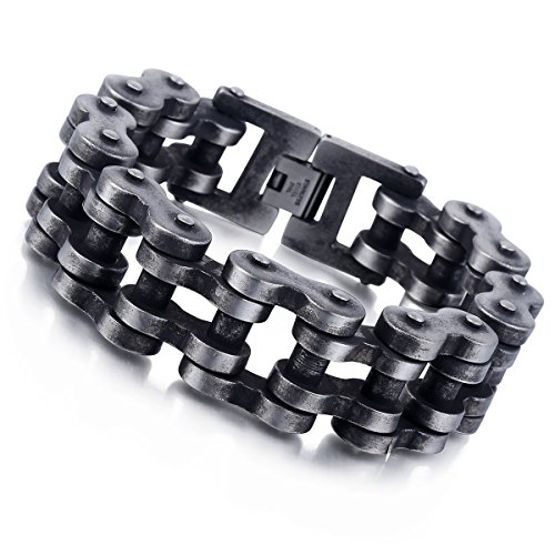 Davieslee Mens 24mm Gunmetal Matte 316L Stainless Steel Biker Motorcycle Bracelet Chain 9inch (Cycle Chain Bracelet compare prices)