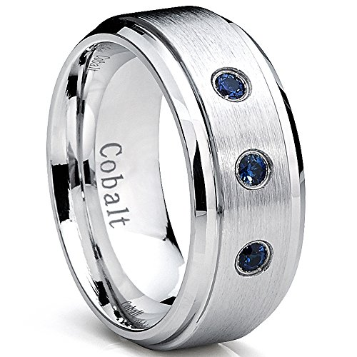 9MM Cobalt Men's Ring Wedding Band With Blue Sapphire Real Stones, Comfort Fit