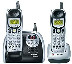 Uniden DXAI5188-2 5.8 GHz Analog Cordless Phone with Dual Handsets, Digital Answering System, and Caller ID (Silver/Black)