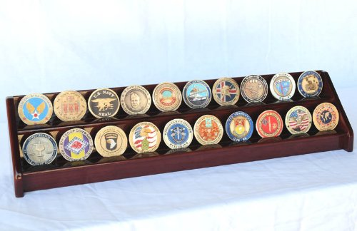 2 Rows Challenge Coin / Casino Chip Display Rack Holder -Cherry Finish