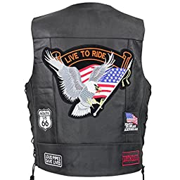 Xelement VP-9160 Live to Ride Leather Vest with Concealed Gun Pocket - 3X-Large