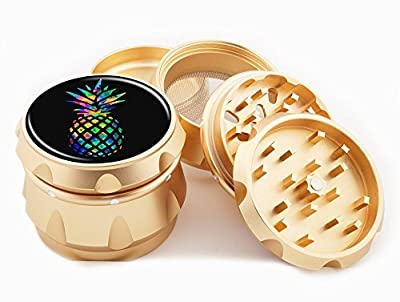 "Rainbow Pineapple Gold Grinder 2.25"" Wide 4 Piece Diamond Cut Blades Herb Grinders Golden Case Hand Crusher Express Cali Trippy Art"