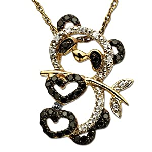 14k Yellow Gold Black and White Diamond Panda Bear Pendant (1/5 cttw), 18&quot;