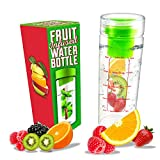 LA Organics Fruit Infuser Water Bottle with Removable Fruit Infuser, 24 oz Bundle with Recipe Ebook
