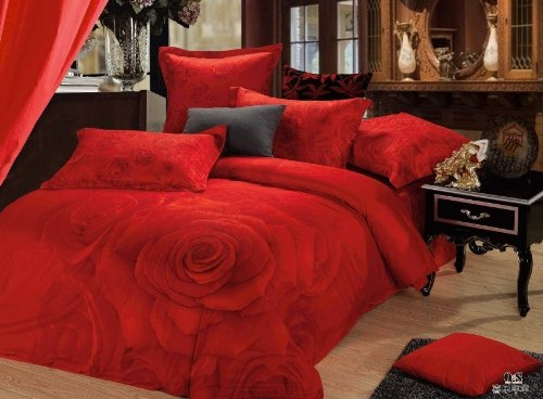 Queen Size 100% Cotton 4-Pieces 3D Red Roses Wedding Girl Floral Prints Duvet Cover Set/Bed Linens/Bed Sheet Sets/Bedclothes/Bedding Sets/Bed Sets/Bed Covers/5-Pieces Comforter Sets (4) front-887456