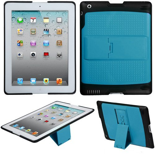 Soft Skin Case Fits Apple Ipad2 Ipad3 Natural Baby Blue/Solid Black (With Stand) Gummy (Please Carefully Check Your Device Model To Order The Correct Version.) front-957880