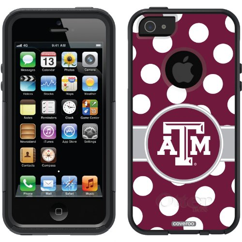 Great Sale Texas A&M University - Polka Dots design on a Black OtterBox® Commuter Series® Case for iPhone 5s / 5