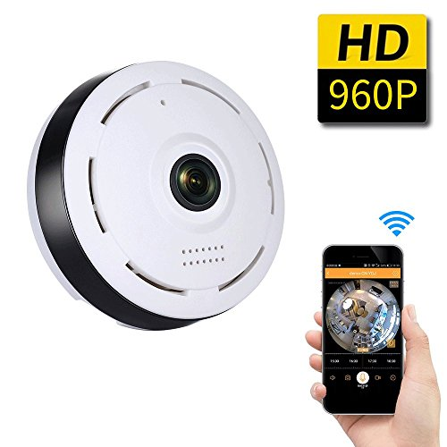 SDETER 960P WiFi Wireless HD 360 Degree Fisheye IP Network Camera, Plug/Play, Day/Night Vision Home Surveillance, Two-Way Audio, SD Card Slot, Alarm (Motion Sensor Wifi Light Switch compare prices)