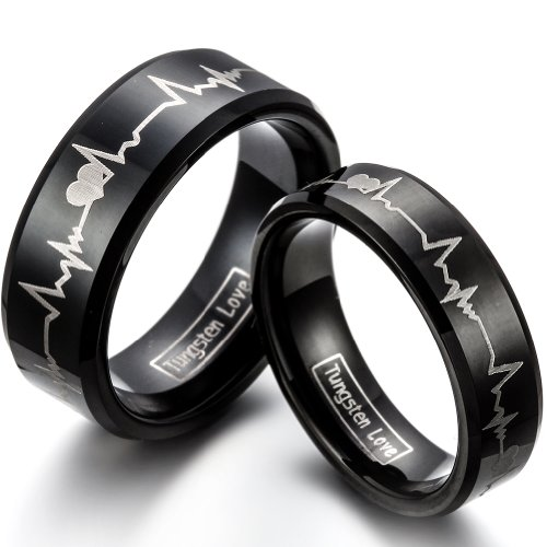 JewerlyWe 2PCS of Matching His 8MM & Hers 6MM Comfort Fit Black Tungsten Carbide Engagement Wedding Bands Engraved Forever Love Heartbeat Promise Rings Set (Sizes 4-16 Available). Please E-mail Sizes (His Her Wedding Rings compare prices)