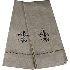 Set of 2 oatmeal fleur de lis fingertip towels fleur de lis kitchen - Fleur de lis bath towels ...