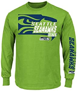 Seattle Seahawks Majestic Dual Threat VI Long Sleeve Mens T-Shirt - Green by Majestic