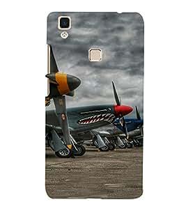 PrintVisa Fighter Plane Pattern 3D Hard Polycarbonate Designer Back Case Cover for VivoV3