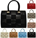 KUKUBIRD CHECKERS FAUX LEATHER DESIGNER TOTE HANDBAG
