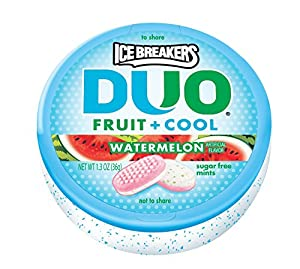 Ice Breakers Duo Fruit + Cool Mints, Watermelon, 1.3-Ounce Containers (Pack of 24)