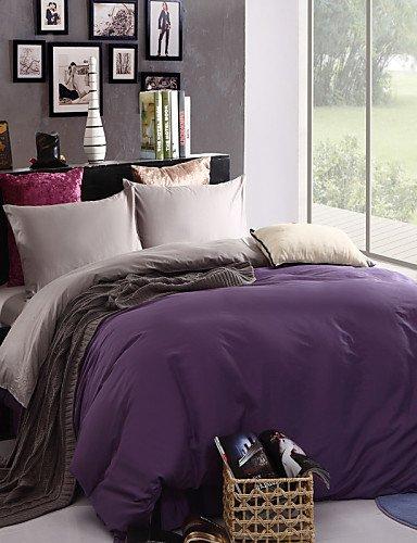 WAKXZH ® bicolore copertura federe lenzuolo piumino (viola + grigio)