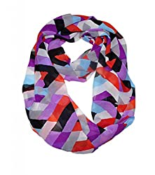 WishCart? Women's Infinity Scarf Loop Ring Light Weight Zig Zag Chevron Sheer Print,Size Bigger Then Others,Multi Color With 30 Different Colors-Multi Purple Blue