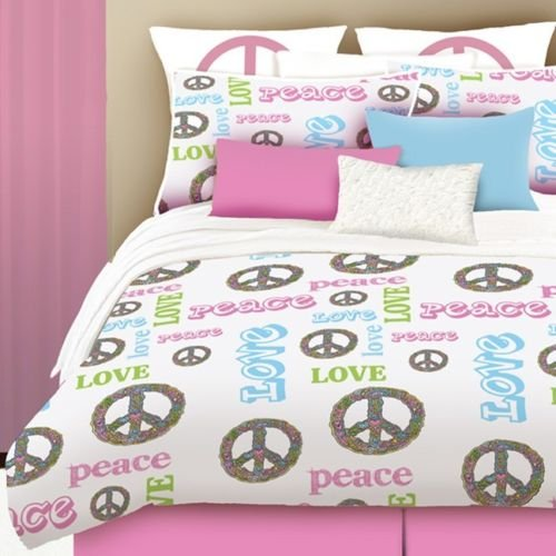 New Bed Bag Queen Full Twin Pink Peace Signs Love Words 4 Pc Piece Comforter Set front-922496