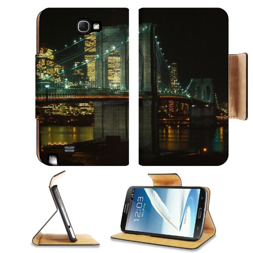New York Brooklyn Bridge Night Time Samsung Galaxy Note 2 N7100 Flip Case Stand Magnetic Cover Open Ports Customized Made To Order Support Ready Premium Deluxe Pu Leather 6 1/16 Inch (154Mm) X 3 5/16 Inch (84Mm) X 9/16 Inch (14Mm) Msd Note Cover Professio