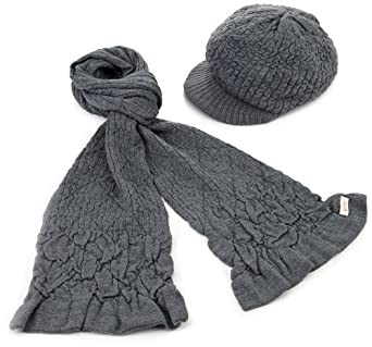 (1.8折)Echo Design Quilt Stitch Hat and Scarf女士grey heather 帽子+围巾$13.5