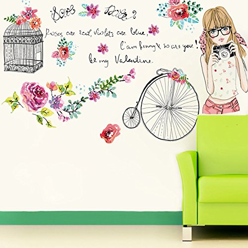 Flower Girl Removable Vinyl Quote DIY Wall Sticker Decal Mural Home Room Decor (College Girl Halloween Pics)
