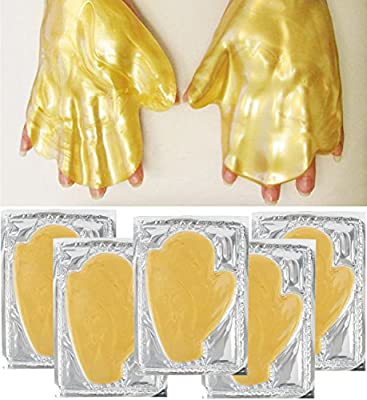 Anti Aging Treatments Set / Kit of 5 Pairs Hands Skin 24K Gold / Golden Collagen Gel Crystal Masks for Intense Hydration / Moisturizing, Firming / Lifting, Smoothing and Wrinkles Removal
