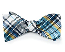 100% Woven Silk Navy and Mystic Blue Trinity Plaid Self-Tie Bow Tie