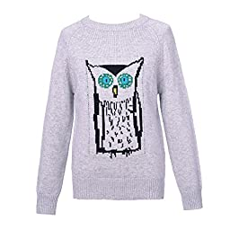 Richie House Girl\'s Pullover Sweater with Owl Artwork RH1952-A-6/7-FBA